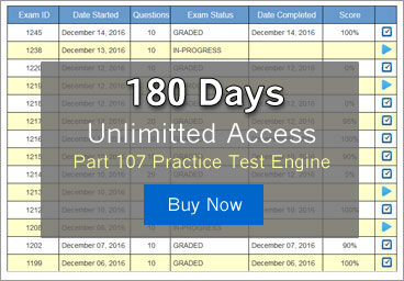 180 Day Unlimitted Access to the most comprehensive online FAA Part 107 Practice Test Software available anywhere.