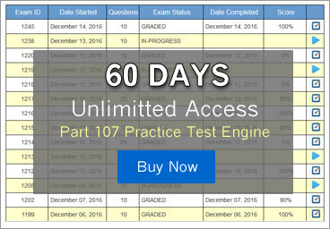 60 Day Unlimitted Access to the most comprehensive online FAA Part 107 Practice Test Software available anywhere.